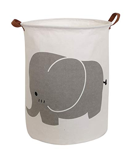 CLOCOR Large Storage Basket,Canvas Fabric Waterproof Storage Bin Collapsible Laundry Hamper for Home,Kids,Toy Organizer (Grey Elephant)
