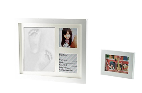 Premium Clay Baby Footprint & Handprint Picture Frame Kit- Perfect Gift for baby shower gift, Expected Parents and (Boston Walnut Frames)