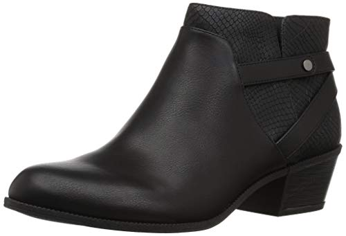 Dr. Scholl's Women's Behold Ankle Boot, Black Smooth/Snake Print