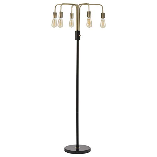 Rivet Mid Century Modern Theory 5 Arm Living Room Floor Lamp With Edison Light Bulbs - 21 x 21 x 60 Inches, Black and Brass Finish