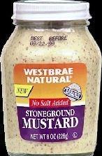 Westbrae Natural Stoneground Mustard, Salt-free, 8 Ounce Bottle (Pack of 12) ( Value Bulk Multi-pack)