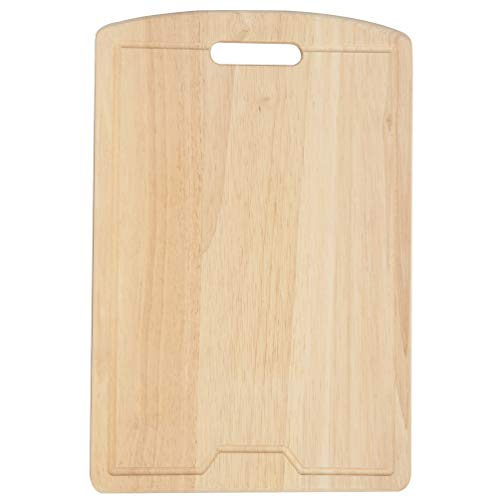 Wood Cutting Board Oak Chopping Board and Serving Tray with Juice Groove, 18 x 12 Inch ()