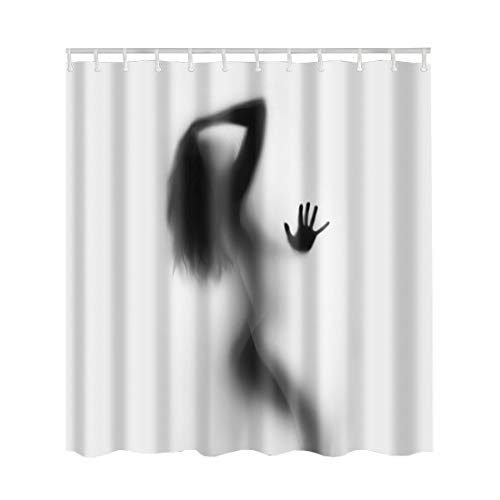 Artown Sexy Lady Clear Shower Curtain, Vintage Pin-up Nude Sexy Hot Girl Retro Elegant Naked Woman with Black Long Hair Print Pattern, Bathroom Decor Set with 12 Plastic Hooks, 72 x 72 Inches