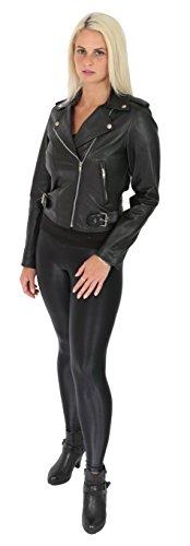 corto Fit Mujeres Slim cuero negro de chaqueta elegante Girls Biker Uxqv7ax4