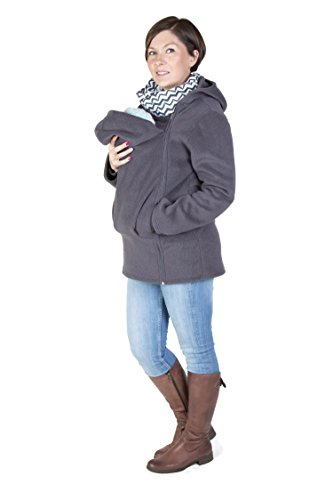 Maternity Polar warm fleece Hoodie / Pullover for two / for Baby Carriers/ Baby carrying wearing (L - US10)