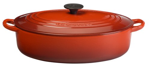 (Le Creuset Enameled Cast-Iron 5-Quart Oval-Shaped Wide French Oven, Cherry Red)