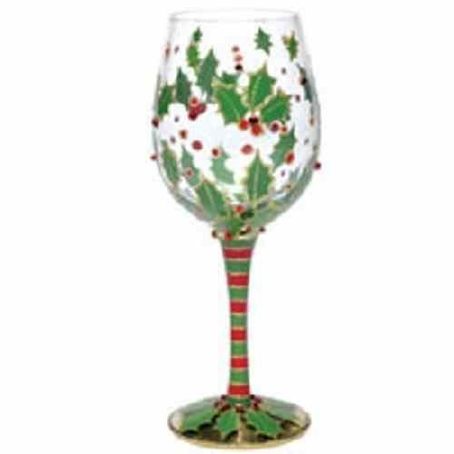 Amazon Com Christmas Painted Wine Glasses Christmas Wine