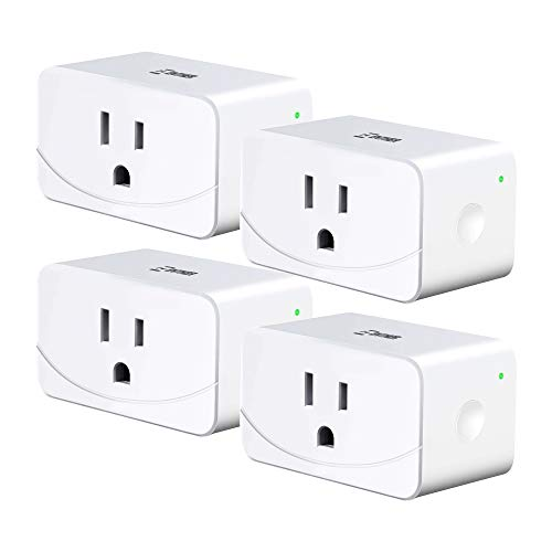 Enther Wi-Fi Smart Plug Google Home, Mini Wireless Outlet 4 Pack, Works with Amazon Alexa & Google Assistant, Remote Control Your Devices from Anywhere, No Hub Required, ETL and FCC Listed, White