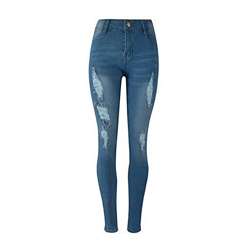 Lannister Fashion Pantalones Vaqueros Rasgados De Las Mujeres Vintage Stretch Skinny Denim Pants Destroyed Holes Jeans Pantalones Pantalones Azul