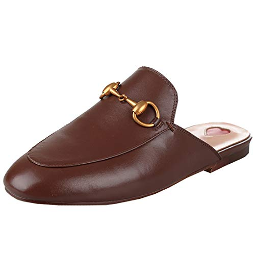 Slingback Clog Mules Slip On Outdoor Dress Slippers (US 6.5, Brown Leather) ()