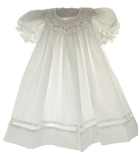 Petit Ami Girls White Dress with Bonnet Pink Smocking Dedication Outfit 9M