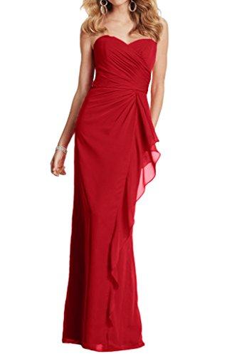 La_mia Braut Herrlich Geraft Chiffon Abendkleider Partykleider Abschlussballkleider Schmaler Schnitt Lang Dunkel Rot MtZri9ZNe