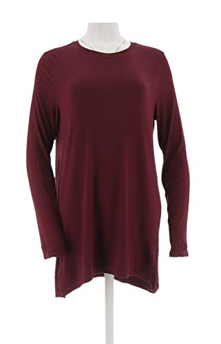 Halston Essentials Long SLV Crew Neck Knit Tunic Bordeaux L New A279861 from H by Halston