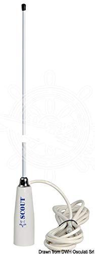 Osculati Glomex AM/FM 90 cm de largo 88/108 mHz frecuencia 75 ohm impedancia antena