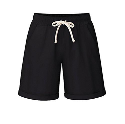 Adelina Shorts Donna Elegante Estivi Larghi Taglie Forti Casual Solido Costume Coulisse Corto Pantaloni Plus Size Ragazza Abbigliamento Nero
