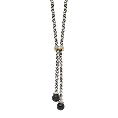 925 Sterling Silver 14k Black Onyx Diamond Lariat Chain Necklace Pendant Charm Natural Stone Fine Jewelry For Women Gift ()
