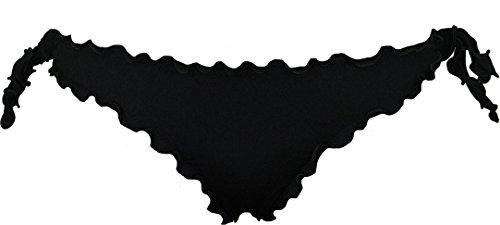Bikini donna a fascia arricciato con slip o brasiliana Bikinicolors - Made in Italy Nero