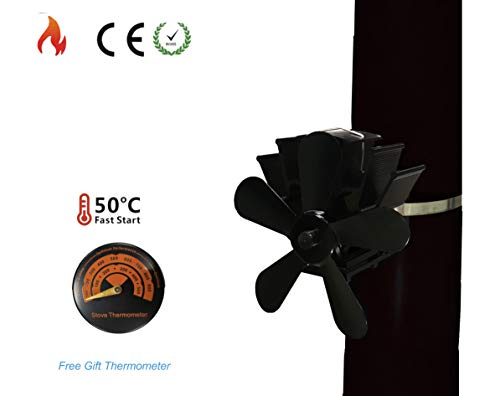 SISIDZ 5 Blades Flue Pipe Stove Fan with Thermometer Heater Powered Fixed on The Chimney Pipe of Wood/Log Burner/Fireplace Black (5 Inch Flue Pipe For Wood Burner)