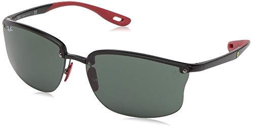 (Ray-Ban Men's RB4322M Scuderia Ferrari Collection Square Sunglasses, Black/Green, 63 mm)