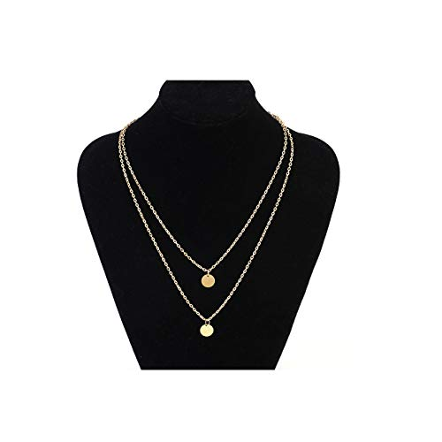 (MOCANALA Layered Choker Necklace, Bohemia Double Coin Pendant Necklace Delicate Round Disc Charm Gold Layer Necklaces for Girls (Double Coin))