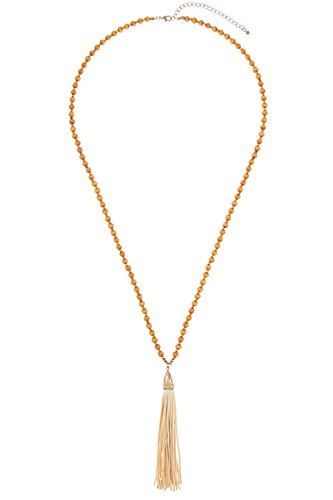 GlitZ Finery Elongated Wooded Bead Accent Drop Faux Suede Tassel Pendant Neck (Natural/Ivory)