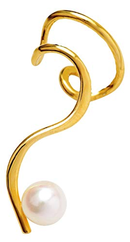 Ear Charms 'One-Liner' Cultured Pearl Ear Cuff Non-Pierced Left Earring Cuff, Gold on Sterling Silver