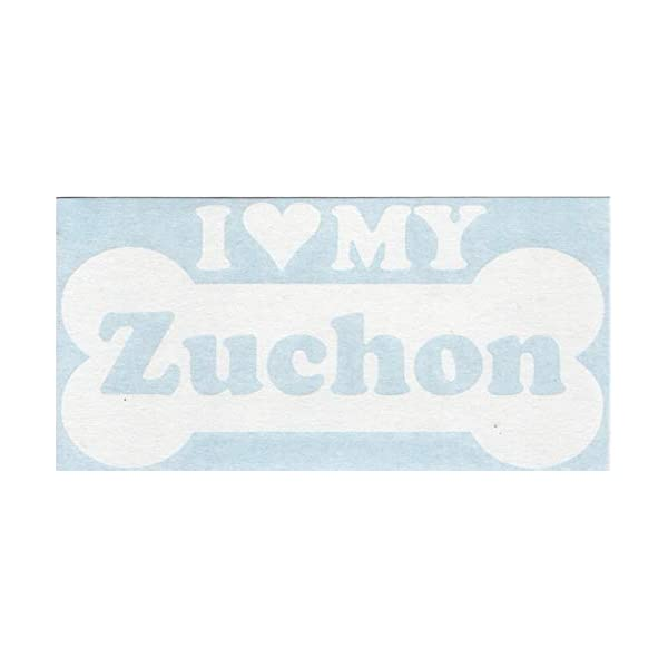 I Heart Love My Zuchon - Dog Bone Bichon Frise Shih Tzu Designer Mixed Hybrid Breed Cars Trucks Moped Helmet Surfboard Auto Automotive Craft Laptop Vinyl Decal Store Window Wall Sticker 14063 2