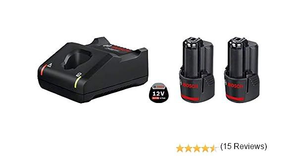 Bosch Professional GAL 12V-40 + GBA 12V - Cargador rápido + batería de litio (2 baterías x 2.0 Ah, 10,8V / 12V): Amazon.es: Bricolaje y herramientas