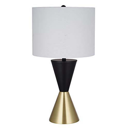 """Rivet Modern Table Lamp with Bulb, 15.88""""H, Matte Black and Antique Brass"""