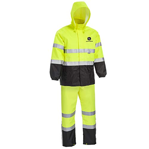 West Chester JD44530 John Deere High Visibility ANSI Class III Rain Suit Jacket and Bib with Color Block: Lime Green/Black, X-Large, 3M Reflective Tape, Reflective John Deere Logo