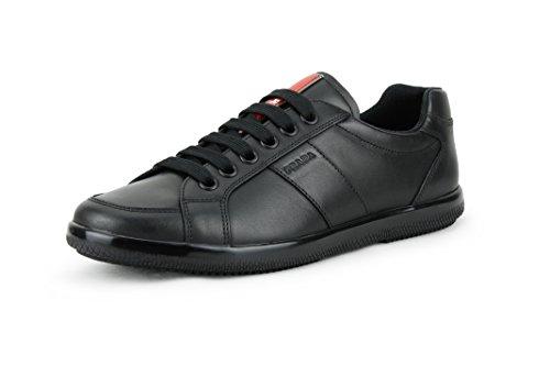 Sneaker Da Uomo Basso In Pelle Di Vitello Color Prada, Nero (nero) 4e2845
