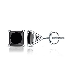 14k White Gold Princess-cut Black Diamond 4-Prong Martini Stud Earrings (3 ct, Black)