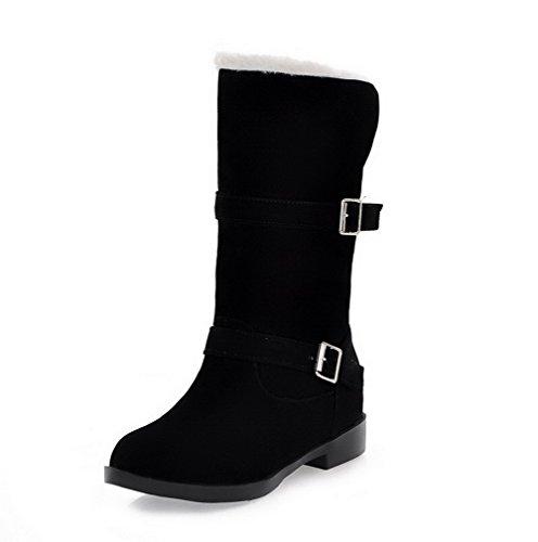 Allhqfashion Dames Ronde Dichte Neus Low-top Lage Hakken Effen Geïmiteerd Suède Snow-boots Zwart
