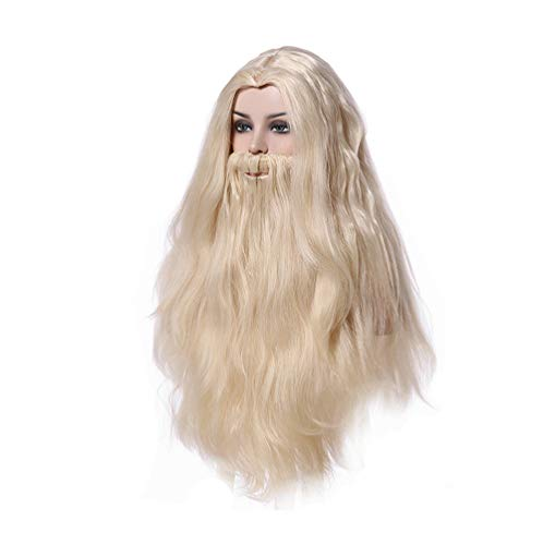 Man's Long Beige Straight Cosplay Wig with Beard