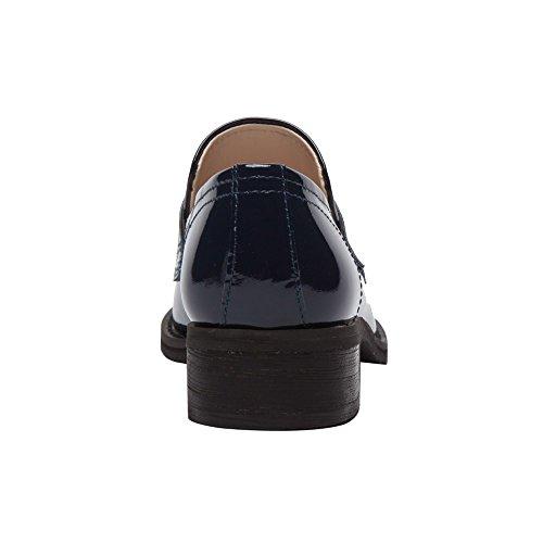 Pic / Betale Eric - Kvinners Patent Penny Loafers - Stablet Lær Blokk Hæl Uformell Slip-on Flat (ny Høst) Marineblå Patent