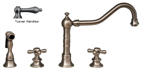 Bronze Mahogany Finish Bar (III Widespread Kitchen Faucet w Lever handles (Mahogany Bronze))