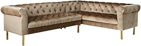 Iconic Home Giovanni Right Facing Sectional Sofa L Shape Velvet Upholstered Button Tufted Roll Arm Design Solid Gold Tone Metal Legs Modern Transitional Taupe