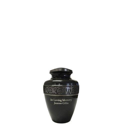 """Gun Metal Grey Brass Cremation Urn (3"""" Small Keepsake, Engraved)"""