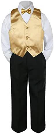 4pc Formal Baby Teens Boys Mustard Vest Bow Tie Black Pants Suits S-14 (8)