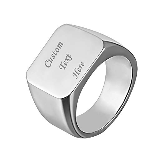 U7 Men Signet Ring Size 11 Personalized Biker Jewelry Gift Text/Symbol Customized Stainless Steel Cool ()