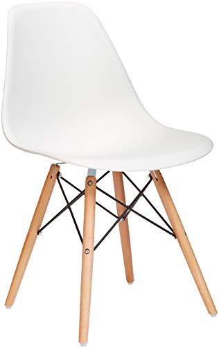 (Phoenix Home Kenitra Contemporary Plastic Dining Chair, Bone White)