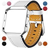 For Fitbit Blaze Leather Bands with Metal Frame, Dizywiee Classic Genuine Leather Wristband for Fitbit Blaze Replacement Fitness Strap