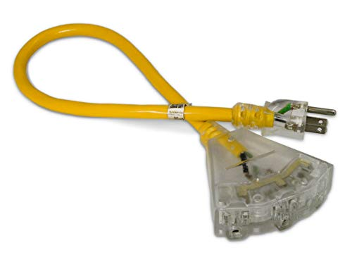 2-ft 12/3 Heavy Duty 3-Outlet Lighted SJTW Indoor/Outdoor Extension Cord by Watt's Wire – Short Yellow 2′ 12-Gauge…