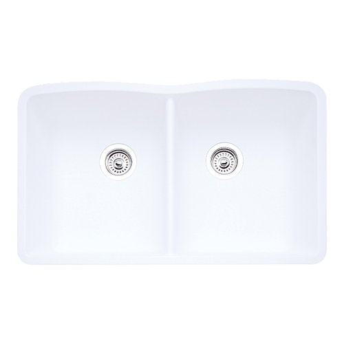 - Blanco 511-701 Diamond Equal Double Bowl Kitchen Sink, White Finish