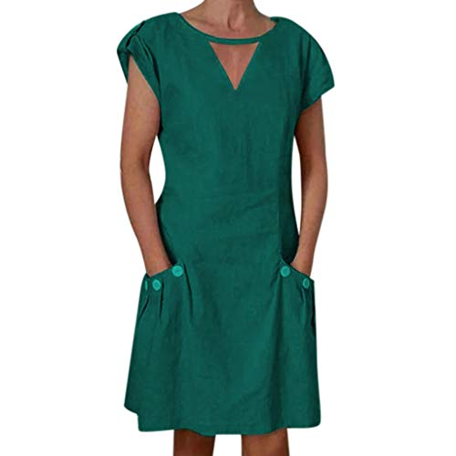 〓LYN Star〓 Women's Dresses-Summer Short Sleeve V Neck Button Down Swing Midi Dress T Shirt Midi Skater Dress with Pockets Green
