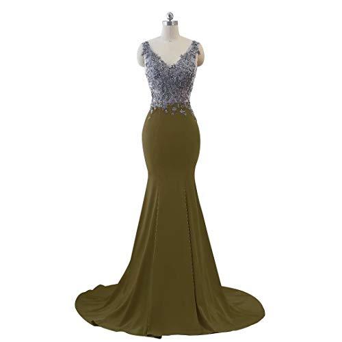 V 14 Party Formale Ausschnitt Mermaid Abendkleid Lange Kleider Frauen Doppel xnBXRCxw