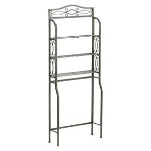 Contemporary Free Standing Over the Toliet with Three Wire Shelves Made w/ Metal in Matte Pewter/Brown 66.5'' H x 27.25'' W x 8.75'' D in. good