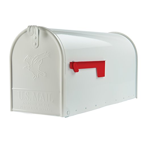 Gibraltar Mailboxes Elite Large Capacity Galvanized Steel White, Post-Mount Mailbox, E1600W00