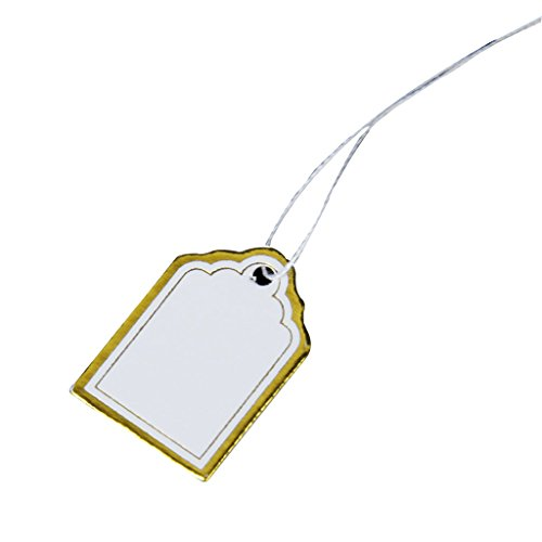 SODIAL(R) 1000PCs Gold Edge and Silver Edge White Rectangular Blank Label Tie String Strung Merchandise Price Tags - Blank Merchandise Tag