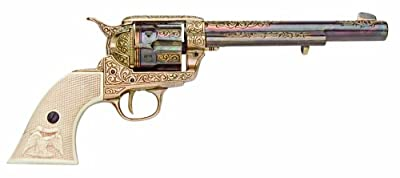 Denix 1873 Engraved Long Barrel Gold Finish Army Revolver with Faux Ivory Handle